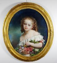 Gratia charles louis fillette au bouquet de fleurs 1878