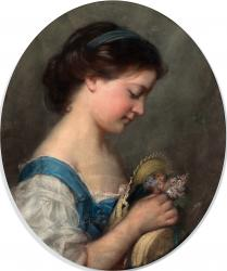 Gratia charles louis portrait de jeune fille aux fleurs de noel 1852